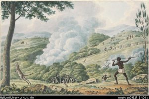 Aborigines using fire to hunt kangaroos by Joesph Lycett (ca.1817). Used with permission by the National library of Australia. http://nla.gov.au/nla.pic-an2962715-s20