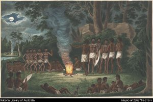 Corroboree around a camp fire by Joesph Lycett (ca.1817). Used with permission from the National Library of Australia. http://nla.gov.au/nla.pic-an2962715-s16