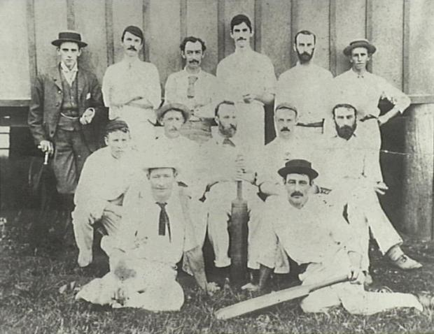 Camden Cricket team. Players posing for a photo. Sometime in the 1800s.
