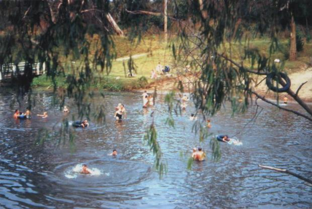 People swimming in Nepean River at Little Sandy, 1950.