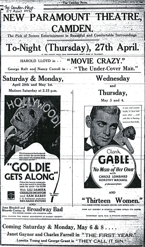 Paramount Cinema advertisement, prominently featuring  stars like Clarke Gable. c.1933. Copyright: Camden Council Library Service.