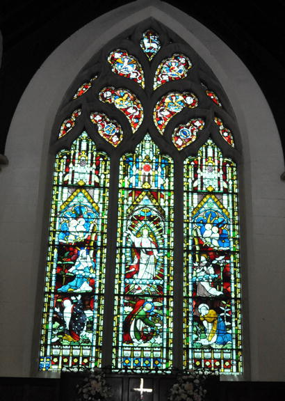 East window St. John's Camden. Memorial to James Macarthur. Inscription: 'Erected by his many friends and admirers. In memory of James Macarthur Esq of Camden who fell asleep on Easter day April 21 1867 in the 69th year of his age. Copyright: Camden Council Library Service.