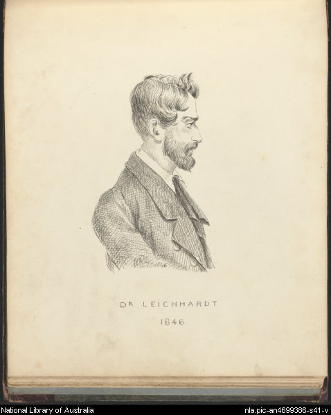 Portrait of Dr. Leichhardt, 1846, by William Romaine Govett. National Library of Australia. nla.pic-an4699386-s41
