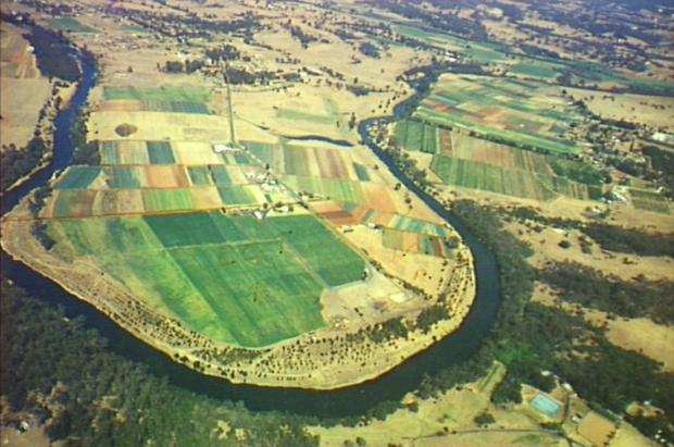Aerial photo of cultivated area in loop of Nepean River. Known as'Cobbitty Paddocks' at northern end of Ellis Lane. c. 1990s. Copyright: Camden Historical Society.