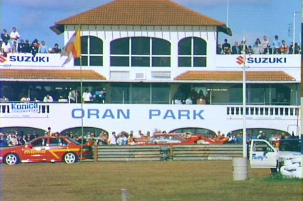 The main building at the Oran Park Raceway, 1997. Copyright: Camden Council Library Service.